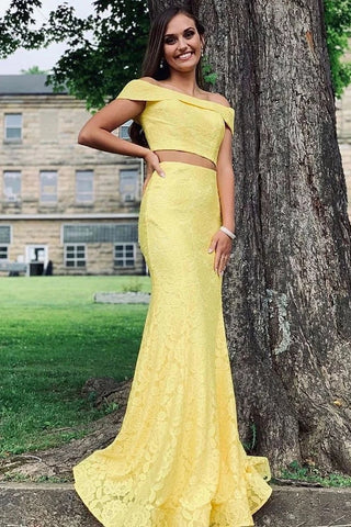 Off Shoulder Two Pieces Mermaid Lace Yellow Long Prom Dress, Off Shoulder Mermaid Yellow Lace Formal Graduation Evening Dress