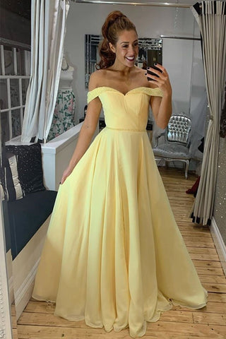 Off Shoulder Yellow Chiffon Long Prom Dress with Beads, Off the Shoulder Yellow Formal Graduation Evening Dress