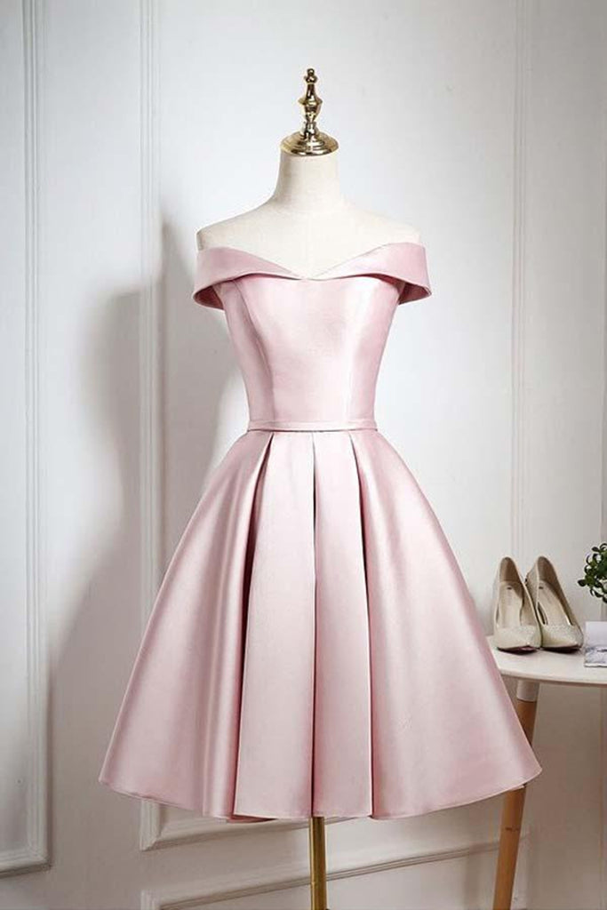 Off The Shoulder Pink Homecoming Dresses Short Prom Dresses, Off Shoulder Graduation Dresses, Formal Dresses, Evening Dresses