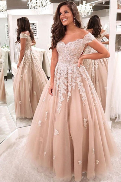 Off the Shoulder Champagne Lace Long Prom Dress, Off Shoulder Champagne Formal Dress, Champagne Lace Evening Dress