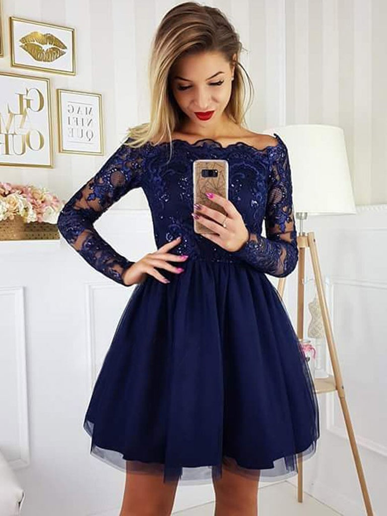 533805afe2 ... Off the Shoulder Long Sleeves Lace Navy Blue Short Prom Dresses  Homecoming Dresses
