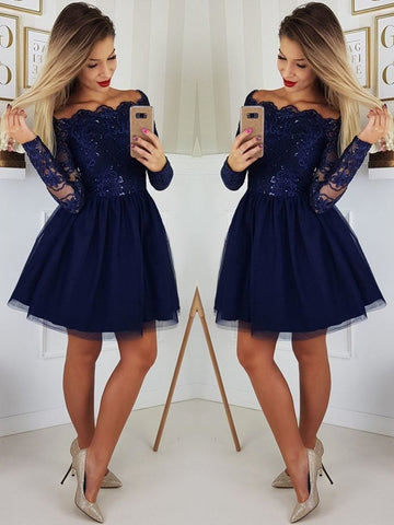 Off the Shoulder Long Sleeves Lace Navy Blue Short Prom Dresses Homecoming Dresses, Long Sleeves Blue Formal Graduation Evening Dresses