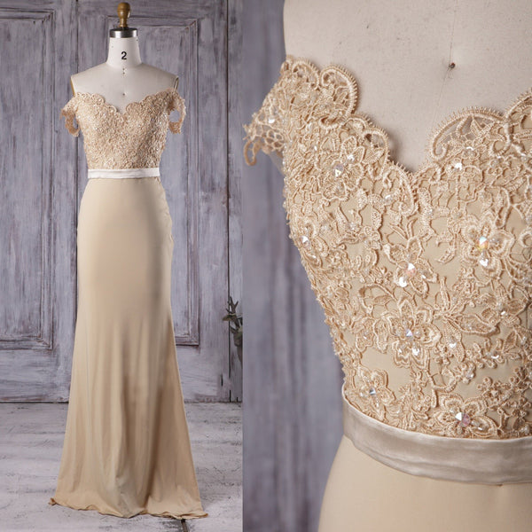 Off the Shoulder Mermaid Champagne Lace Long Prom Dress, Off Shoulder Mermaid Champagne Formal Graduation Evening Dress, Mermaid Champagne Lace Bridesmaid Dress