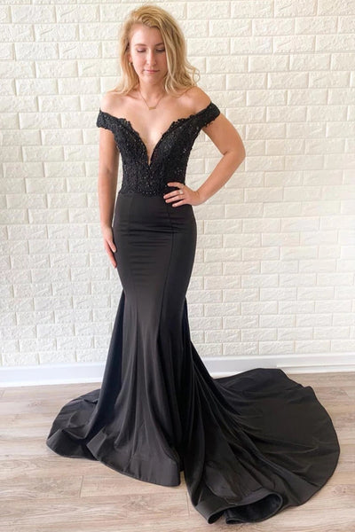 Off the Shoulder Mermaid Lace Black Long Prom Dress with Train, Off Shoulder Mermaid Black Formal Dress, Mermaid Black Lace Evening Dress