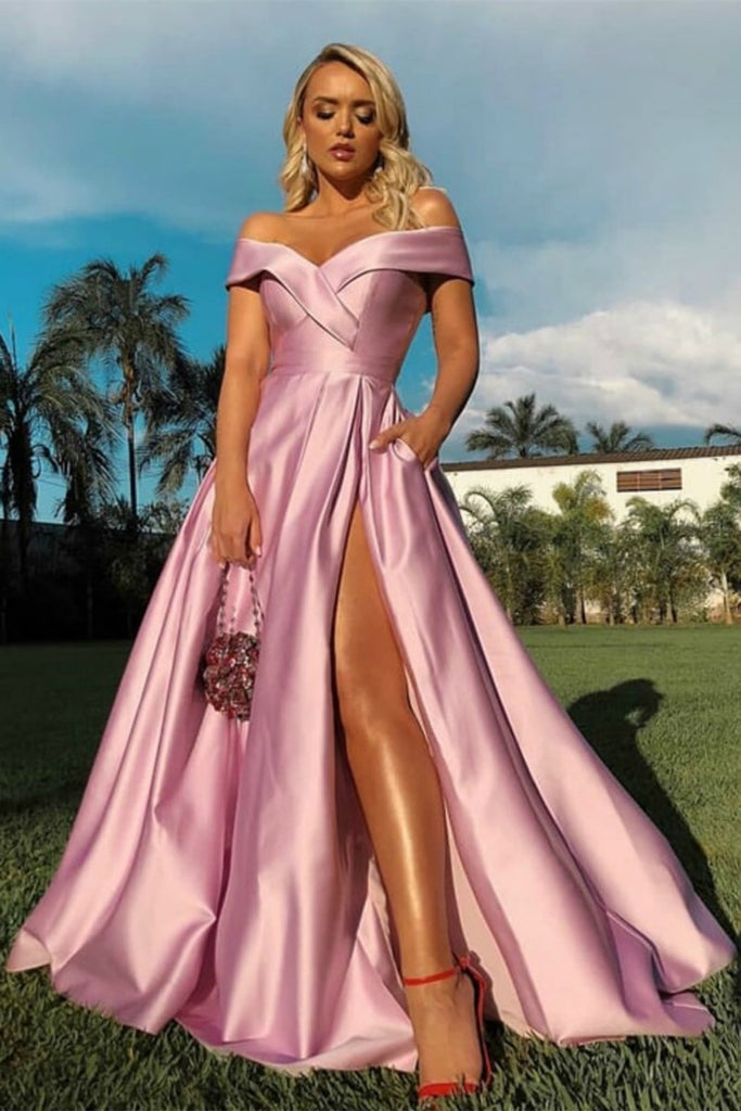 Off the Shoulder Pink Satin Long Prom Dresses with High Slit, Off Shoulder Pink Formal Dresses, Pink Evening Dresses
