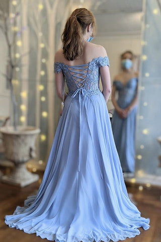 Off the Shoulder Blue Lace Long Prom Dress, Off Shoulder Blue Formal Dress, Blue Lace Evening Dress