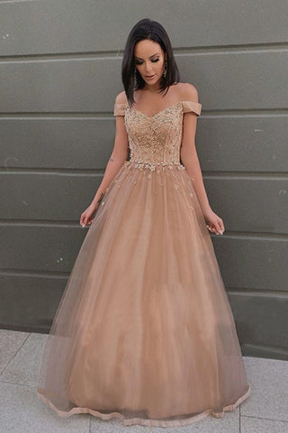 Off the Shoulder Champagne Lace Floral Prom Dress, Off Shoulder Champagne Formal Dress, Champagne Lace Evening Dress
