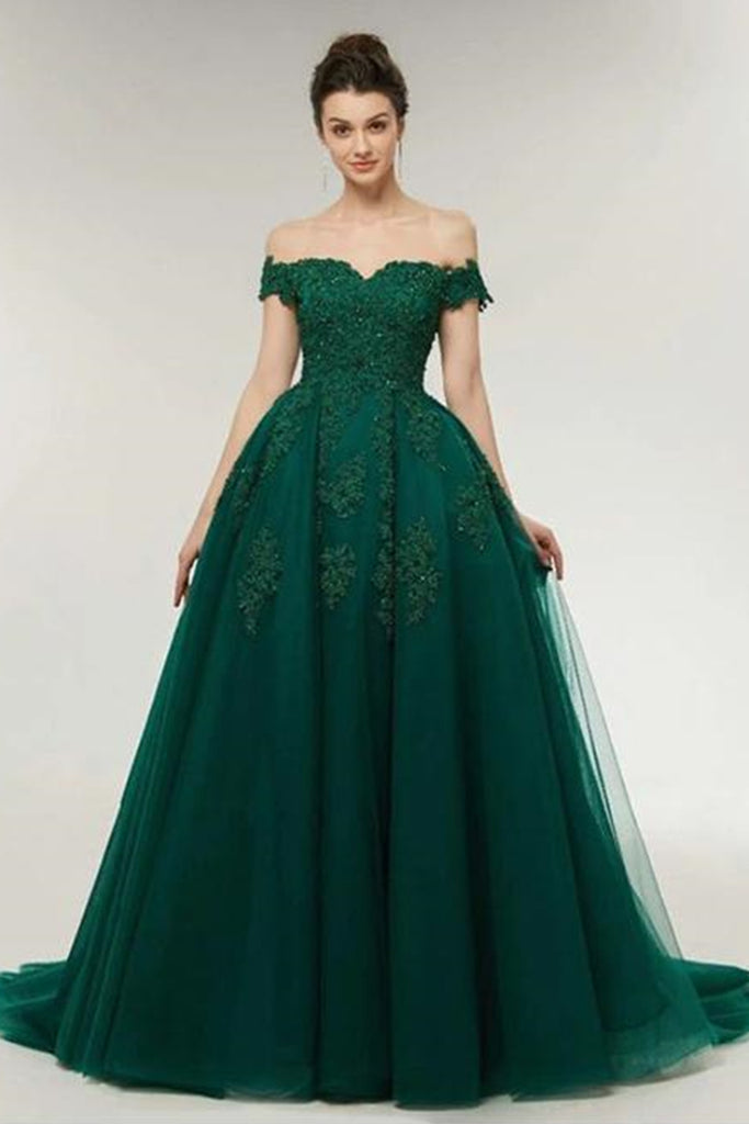 Off the Shoulder Dark Green Lace Long Prom Dress, Off Shoulder Dark Green Formal Dress, Green Lace Evening Dress