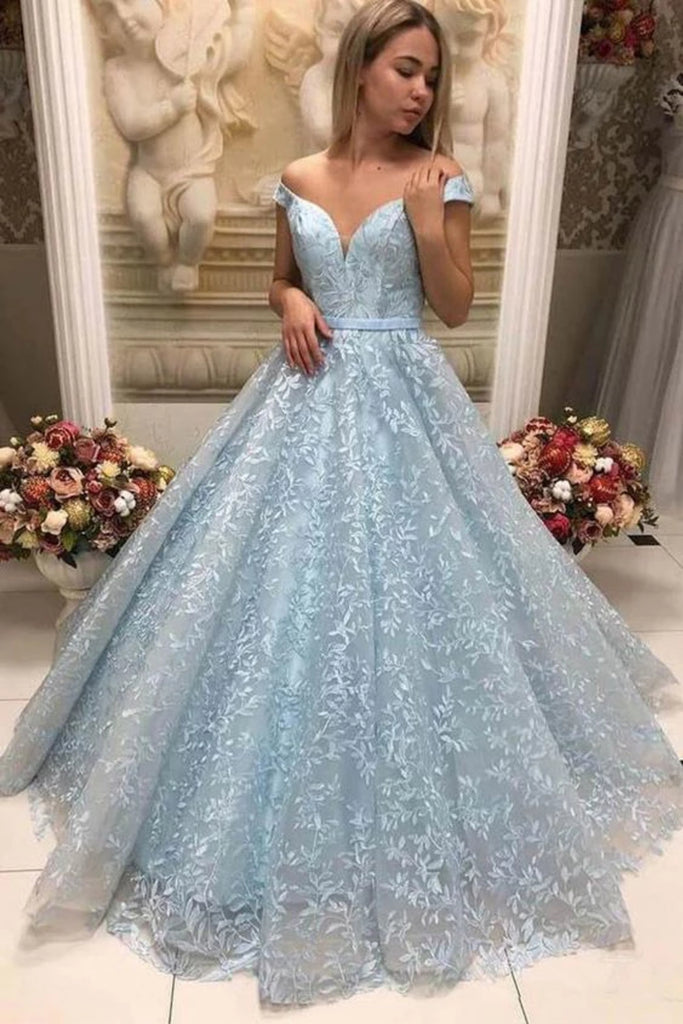 Off the Shoulder Light Blue Lace Long Prom Dress, Off Shoulder Light Blue Formal Dress, Light Blue Lace Evening Dress