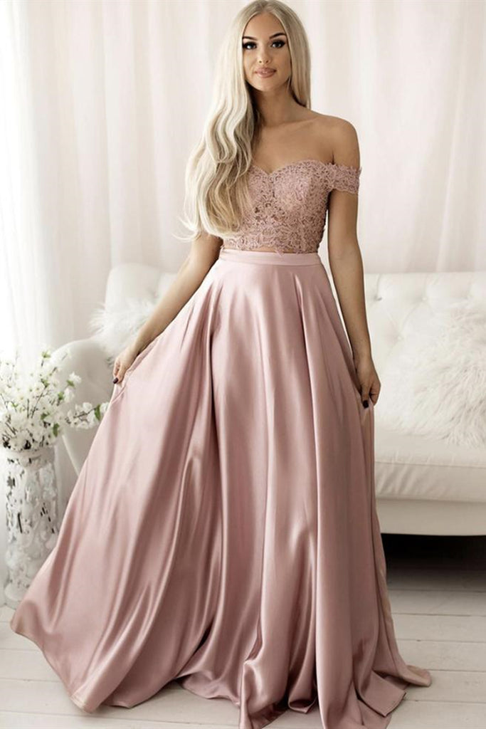 Off the Shoulder Pink Lace Long Prom Dress, Off Shoulder Pink Formal Dress, Pink Lace Evening Dress