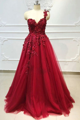One Shoulder 3D Floral Burgundy Lace Long Prom Dress, Burgundy Lace Appliques Formal Graduation Evening Dress