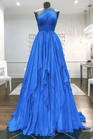 One Shoulder Backless Blue Chiffon Long Prom Dress, Beaded Blue Long Formal Evening Dress