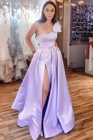 One Shoulder High Slit Purple Satin Long Prom Dress with High Slit, One Shoulder Purple Formal Graduation Evening Dress