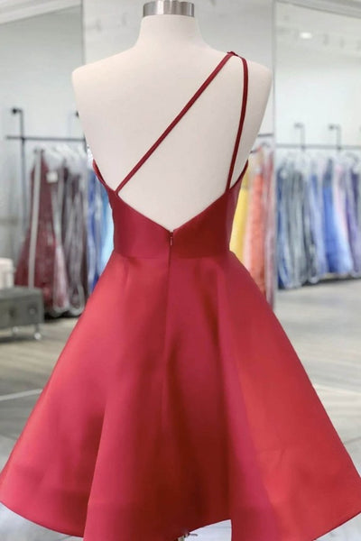 One Shoulder Open Back Burgundy Floral Short Prom Dress, Wine Red Floral Formal Evening Homecoming Dress