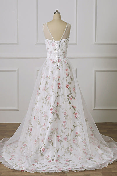 Open Back White Lace Long Prom Dress with Appliques, White Formal Graduation Evening Dress with Lace Flower