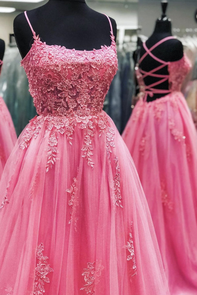 Pink Tulle Backless Lace Floral Long Prom Dress, Pink Lace Formal Dress, Pink Evening Dress