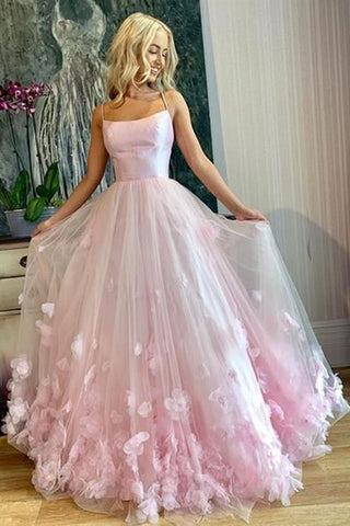 Pink Tulle Floral Long Prom Dresses, Spaghetti Straps Pink Floral Long Formal Evening Dresses
