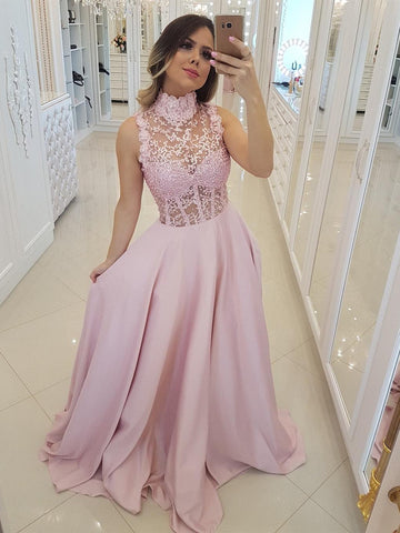 22ae2f299a8 Pink High Neck Lace Beaing Satin Long Prom Dresses 2019