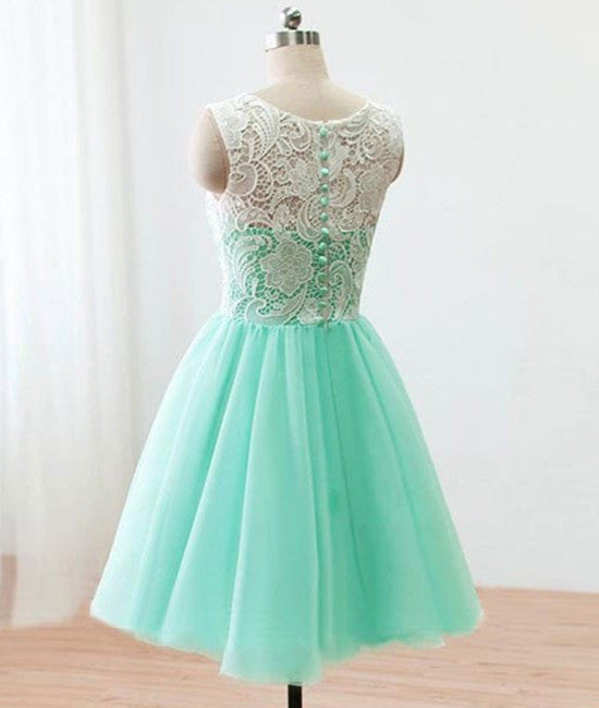 f85291623a6 ... Pretty Round-Neck Lace Tulle Short Green Prom Dresses
