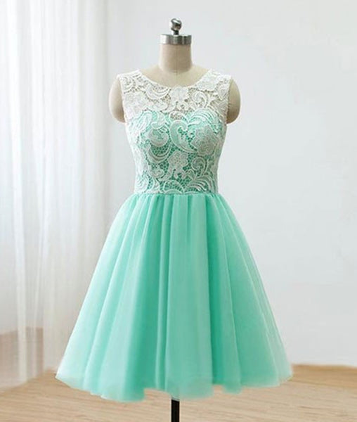 Pretty Round-Neck Lace Tulle Short Green Prom Dresses, Lace Homecoming Dresses