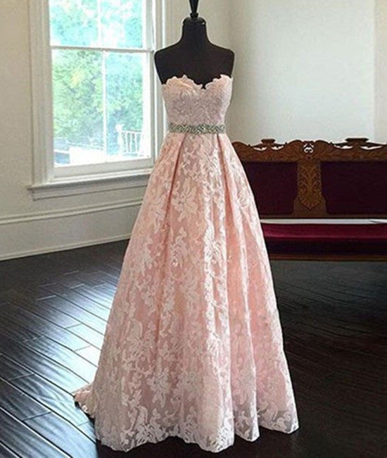 Pretty Sweetheart Neck Pink Lace Prom