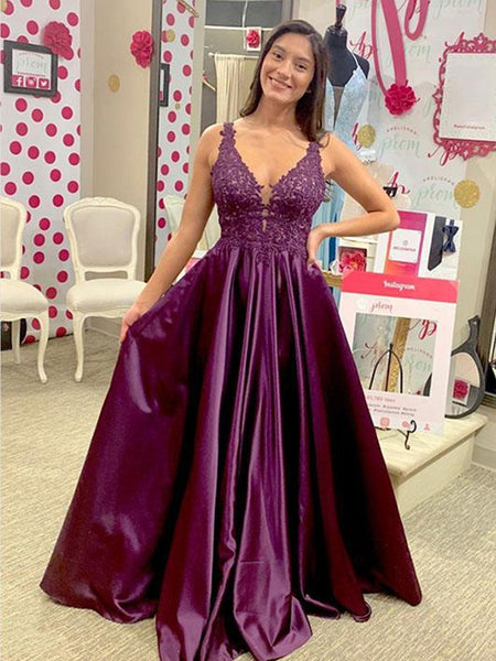 Purple A Line V Neck Lace Satin Long Prom Dresses, Lace Purple Formal Dresses, Evening Dresses