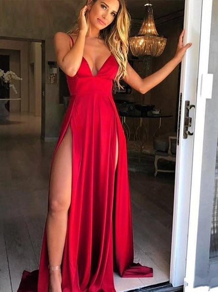 Red A Line V Neck Spaghetti Straps Backless Long Prom Dress with High Slit, Burgundy Backless Graduation Dress, Evening Dress