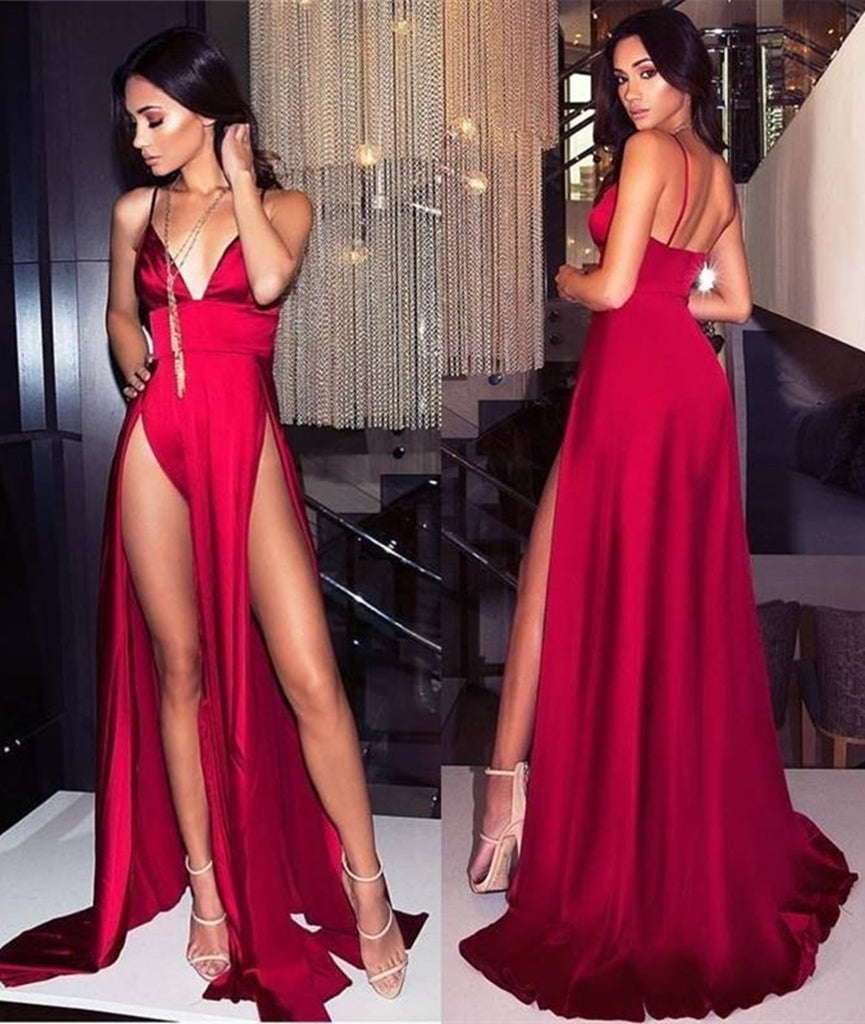 Red A Line V Neck Spaghetti Straps Backless Long Prom Dress with High Slit e441c8838