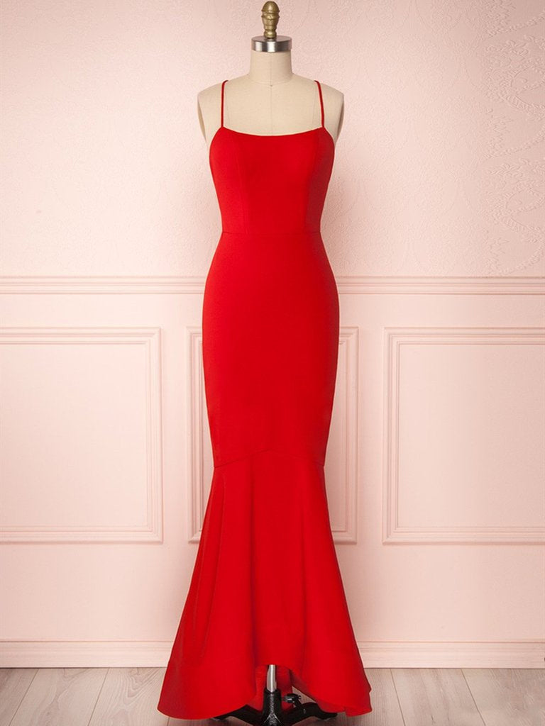 Red Thin Straps Mermaid Backless Long Prom Dresses, Red Mermaid Formal Dresses, Red Evening Dresses