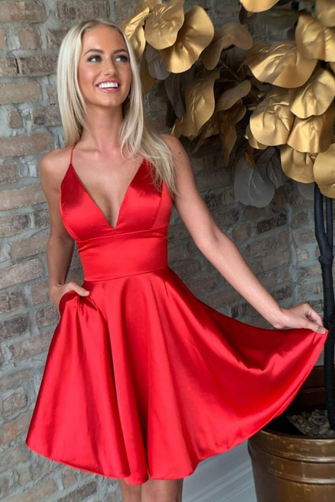 Red V Neck Satin Short Prom Dress Homecoming Dress, V Neck Red Formal Graduation Evening Dress