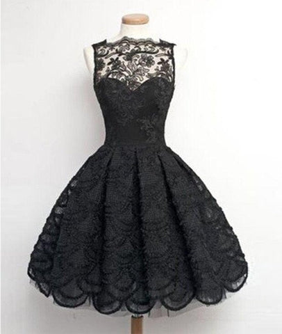 Retro A-line Black Lace Sleeveless Open Back Short Prom Dresses, Homecoming Dresses