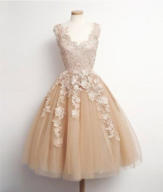 Retro Champagne V-neck Applique Short Prom Dress, Evening Dresses, Party Dresses
