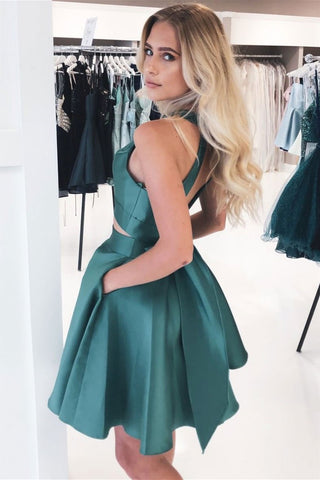 Round Neck 2 Pieces Short Green Prom Dress with Pocket, Short Two Pieces Green Formal Graduation Homecoming Dress