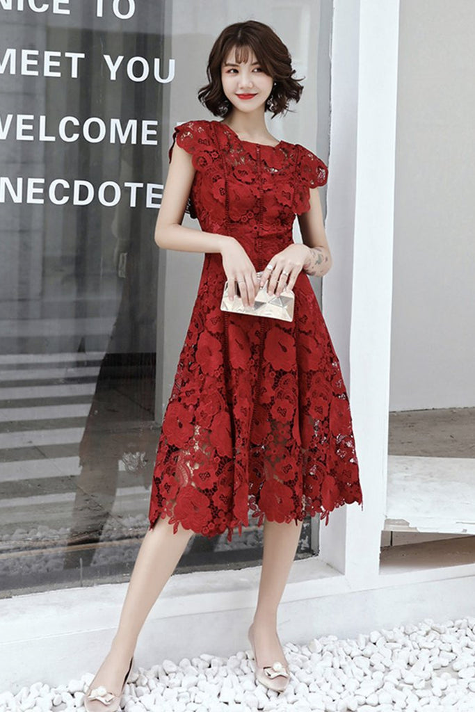 Round Neck Cap Sleeves Knee Length Floral Burgundy Lace Prom Dress, Burgundy Lace Formal Graduation Homecoming Dress