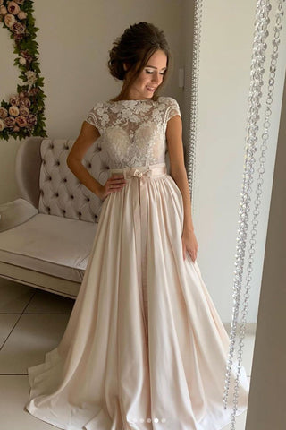 Round Neck Cap Sleeves Light Champagne Lace Long Prom Dress, Champagne Lace Long Formal Evening Dress