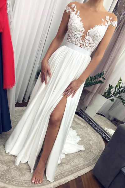 Round Neck Cap Sleeves Long White Lace Prom Dress with Slit, White Lace Formal Graduation Evening Dress