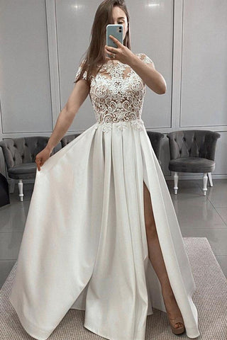 Round Neck Cap Sleeves White Lace Long Prom Dress with Slit, White Lace Formal Dress, White Evening Dress