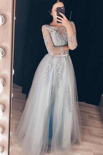 Round Neck Long Sleeves Grey Lace Floral Prom Dress, Long Sleeves Grey Lace Formal Dress, Grey Lace Evening Dress