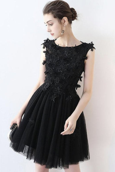 Round Neck Short Black Lace Prom Dress, Black Lace Formal Graduation Homecoming Dress, Black Cocktail Dress