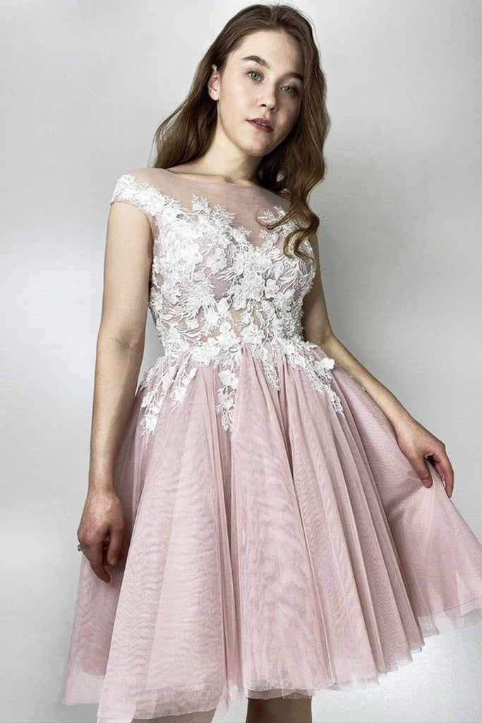Round Neck Short Pink Lace Floral Prom Dress, Pink Lace Homecoming Dress, Pink Formal Evening Dress