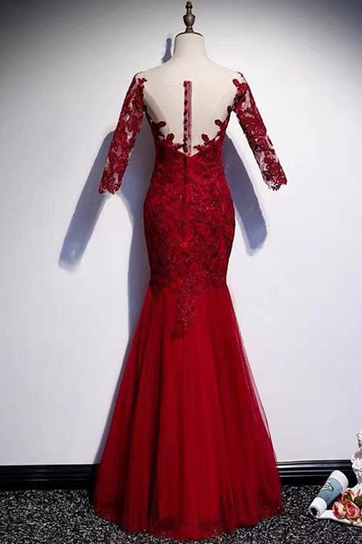 Round Neck Short Sleeves Mermaid Burgundy Lace Long Prom Dress, Mermaid Burgundy Lace Formal Dress, Wine Red Evening Dress