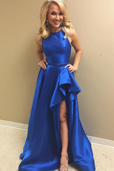 Round Neck 2 Pieces High Low Royal Blue Satin Long Prom Dress, Royal Blue Formal Dress, Graduation Dresses