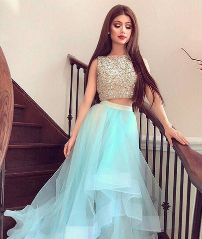 Round Neck 2 Pieces Sequins Tulle Green Long Prom Dress, 2 Pieces Green Formal Dress, Green Evening Dress