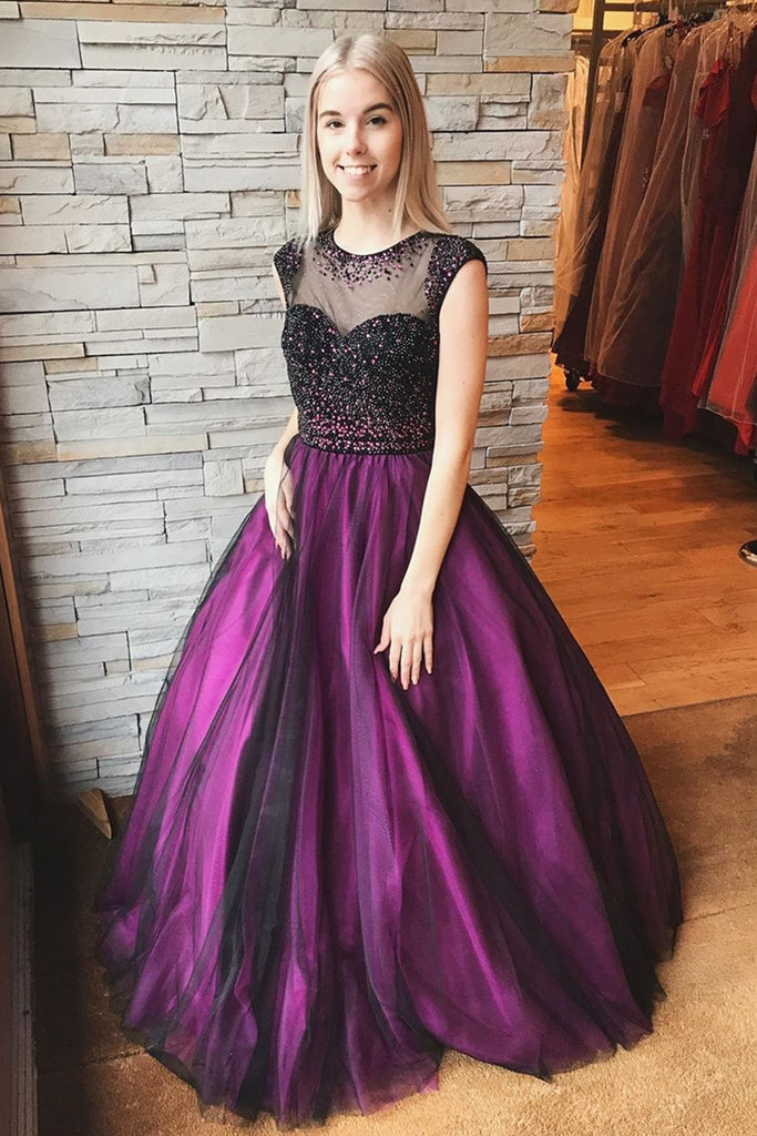 Round Neck Cap Sleeves Beaded Long Purple Prom Dress, Cap Sleeves Purple Formal Dress, Purple Evening Dress