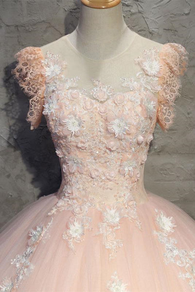 Round Neck Cap Sleeves Lace Pink Long Prom Dress, Pink Lace Formal Dress, Pink Evening Dress, Ball Gown