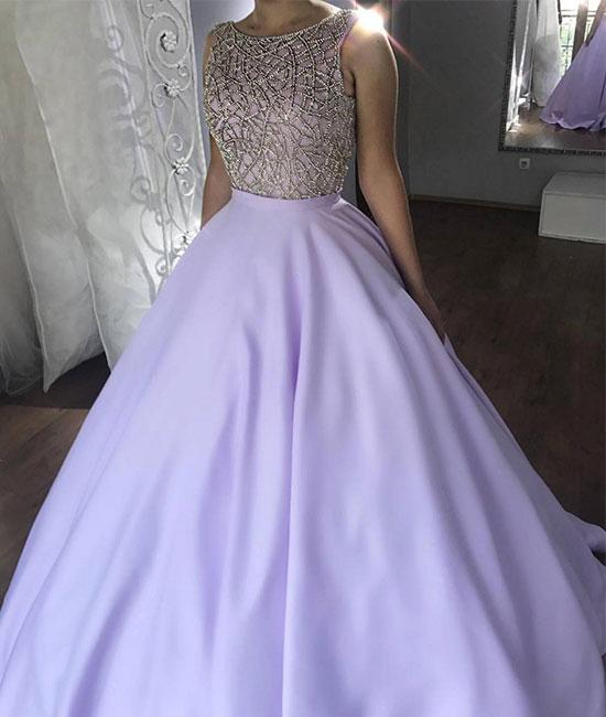 Round Neck Purple Satin long Prom Dress With Beads, Purple Prom Gown,  Purple Evening Dress