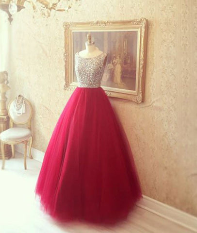 Round Neck Red Prom Dresses, Red Evening Dresses, Red Long Dresses