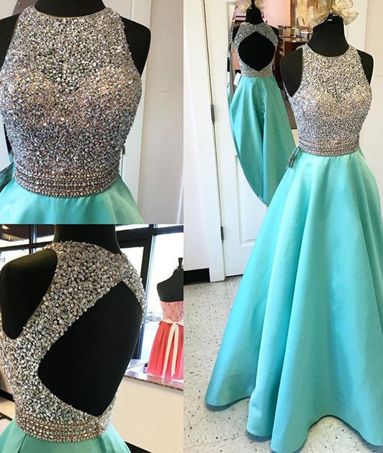 Round Neck Sequin Open Back Green Prom Dresses, Evening Dresses