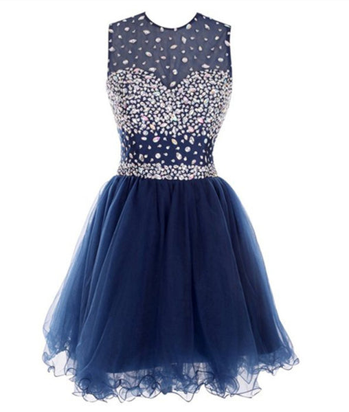 Round Neck Short Dark Blue Prom Dresses, Short Dark Blue Homecoming Dresses