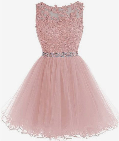 Round Neck Short Pink Prom Dresses, Pink Homecoming Dresses, Short Pink Formal Dresses